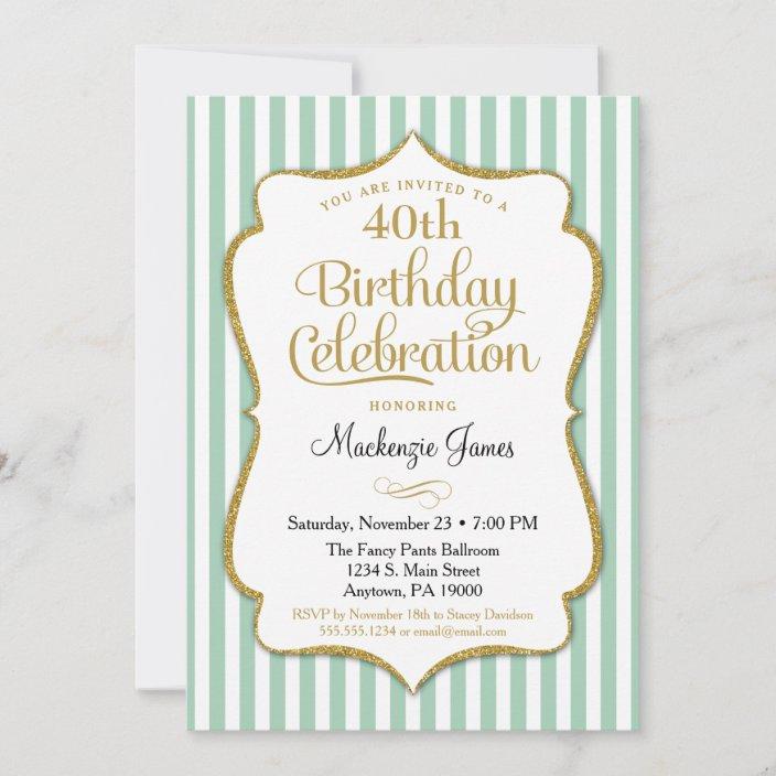 birthday invitation mint green gold adult teen zazzle com