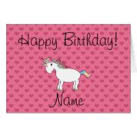 Birthday name unicorn pink hearts card