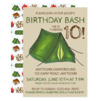 Birthday Party Bash Camp Tent Sleepover Camping Card