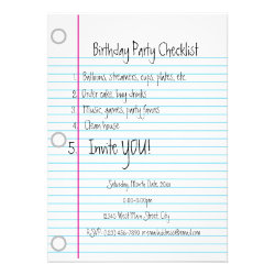 Birthday Party Checklist Invitations