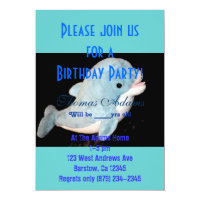 Birthday Party Dolphin Water Sea Ocean Fish Animal Card