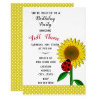 Birthday Party Invitation with Sunflower Design