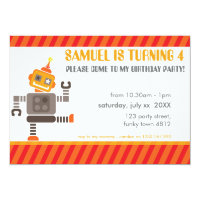 BIRTHDAY PARTY INVITES cool robot dancing orange