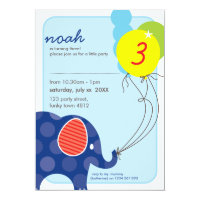 BIRTHDAY PARTY INVITES :: elephant balloons 3P