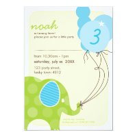 BIRTHDAY PARTY INVITES :: elephant balloons 6P