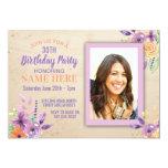 Birthday Party Photo Flowers Purple Lilac Invite