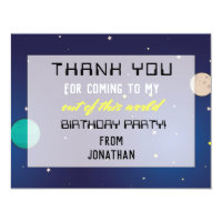 Birthday Party Thank You Planets Space Galaxy Card