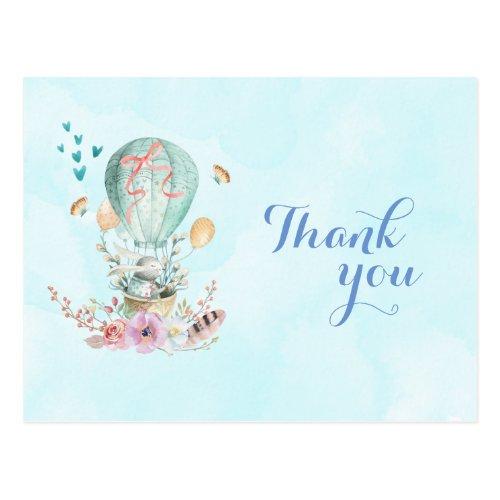 Birthday Thank You Bunny Riding in a Balloon Postcard