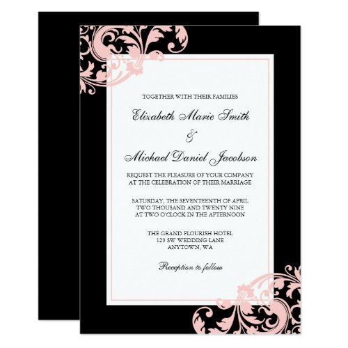 Black and Blush Pink Flourish Swirls Wedding Invitation