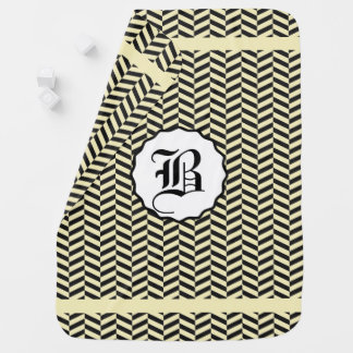 Black and Corn Field Yellow Monogram Receiving Blanket