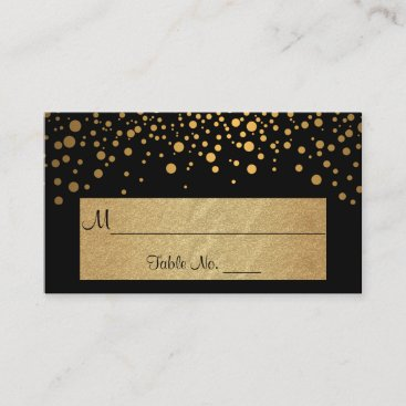 Black and Gold Chevron and Confetti Dots Place Card