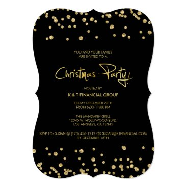 Black and Gold Confetti Company Christmas Party Card
