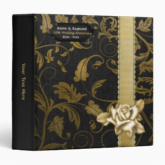 Black and Gold Damask 50th Wedding Anniversary Vinyl Binders