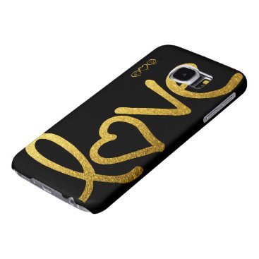 Black and Gold Love Samsung Galaxy S6 Case