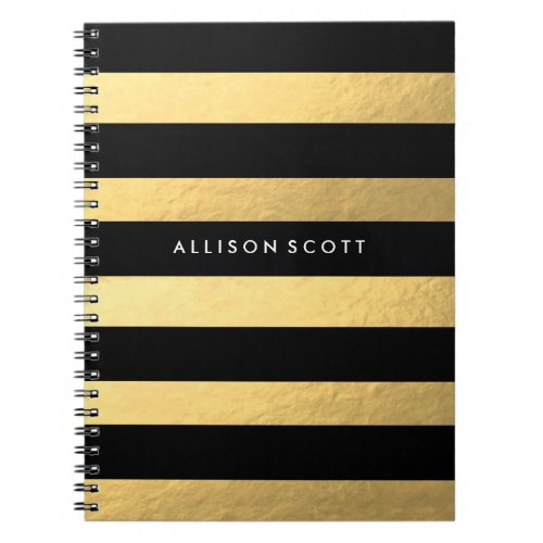 Black And Gold Personalized Notebook