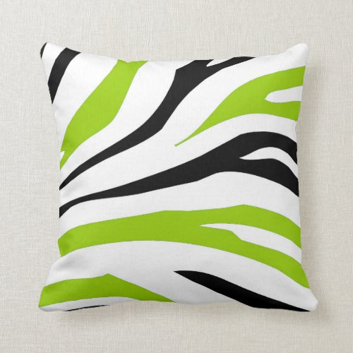 Black and Lime Green Zebra Stripes Print Pillow