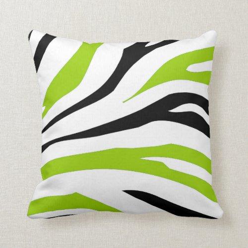 Black and Lime Green Zebra Stripes Print Pillow