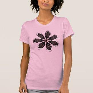Black and Pink Spikey Fingerprint Flower T-shirts