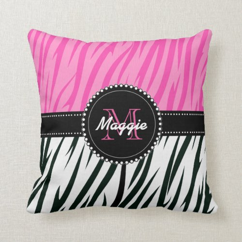 Black and Pink Zebra Print Custom Monogram girly Throw Pillow