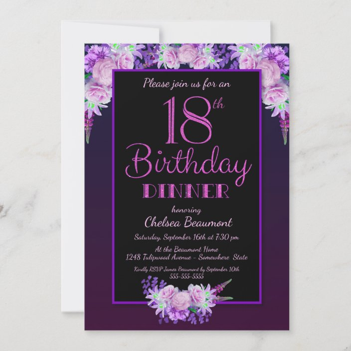 black and purple floral 18th birthday dinner party invitation zazzle com