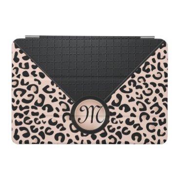 Black and Rose Blush Leopard | Monogram iPad Mini Cover