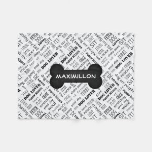 Black and White Bone Custom Name Dog Blanket