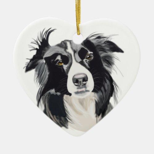 Black and White Border Collie Ceramic Heart New Ceramic Ornament
