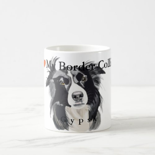 Black and White Border Collie Portrait Coffee Mug
