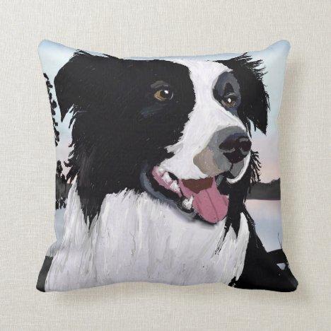 Black and white Border Collie Throw Pillow