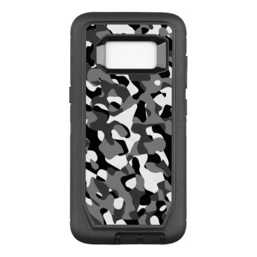 Black and White Camouflage Print Pattern OtterBox Defender Samsung Galaxy S8 Case