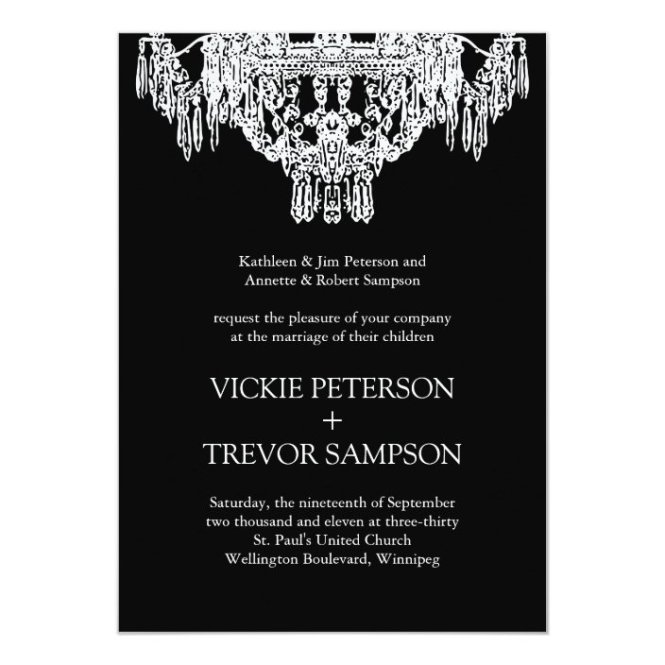 White Chandelier Wedding Invitations