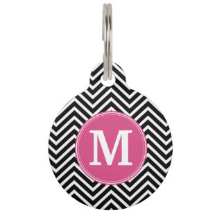 Black and White Chevrons Custom Pink Monogram Pet Name Tag