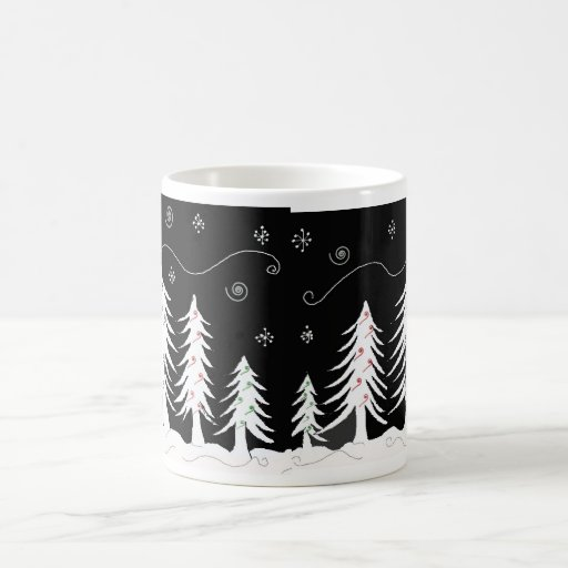 Black And White Christmas Tree Design Coffee Mug Zazzle