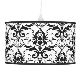 Black and White Damask Pattern Design Lamp