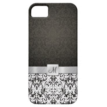 Black and White Damask with Monogram iPhone SE/5/5s Case