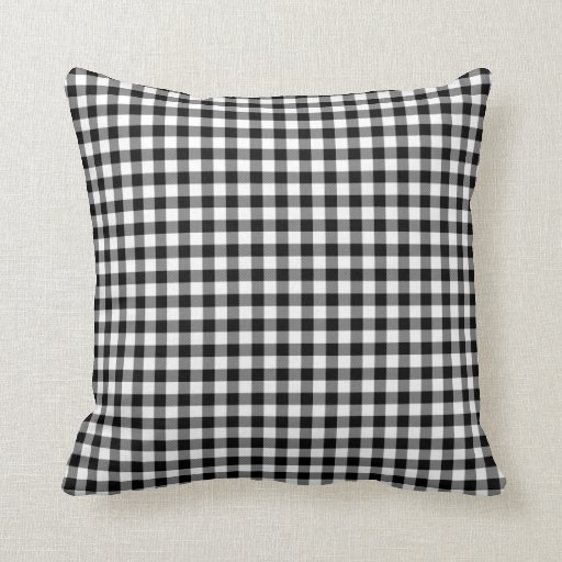 Black and White Gingham Pattern Throw Pillow