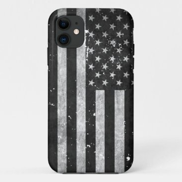 Black and White Grunge American Flag iPhone 11 Case