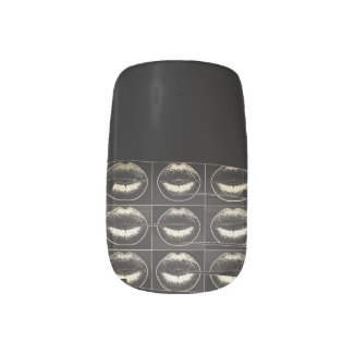Black and White Grunge Lips Minx Nail Art