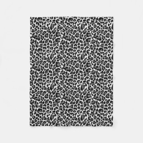 Black and White Leopard Skin Print Fleece Blanket