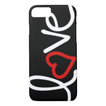 Black and white Love with red heart iPhone 8/7 Case