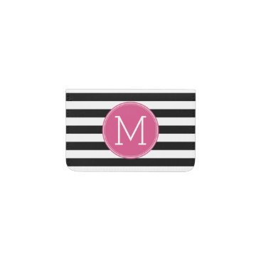 Black and White Striped Pattern Hot Pink Monogram Business Card Holder