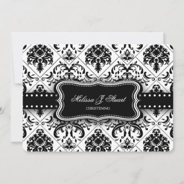 Black and White Vintage Damask Christening Invitation