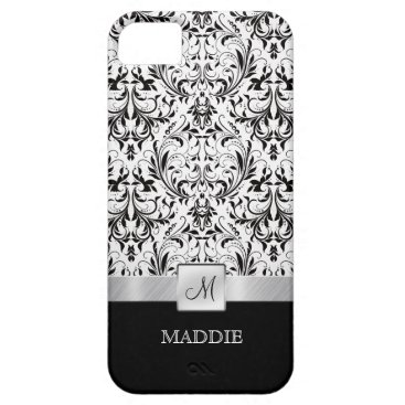Black and White Vintage Damask with Monogram iPhone SE/5/5s Case