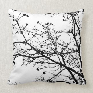 Black and White Winter Tree throwpillow