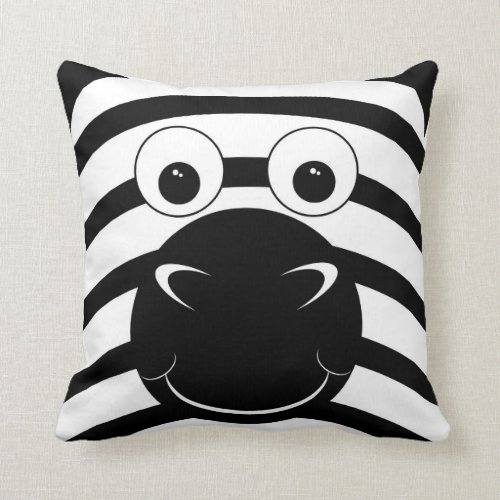 Black and White Zebra Face Accent Pillow