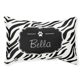 Black and White Zebra Print Custom Monogram Name Dog Bed