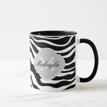 Black and White Zebra Stripes with monogram Mug