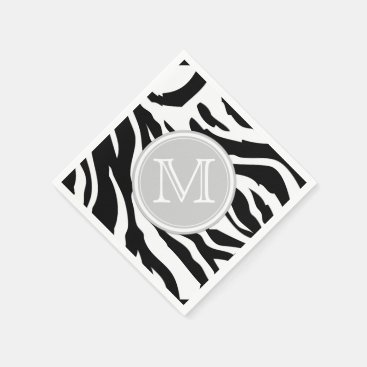 Black and White Zebra Stripes with Monogram Paper Napkin