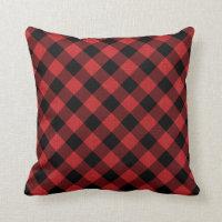 Black Buffalo Check Diagonal Plaid Red Linen Photo Throw Pillow