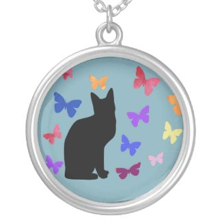 Black Cat with Butterflies Necklace